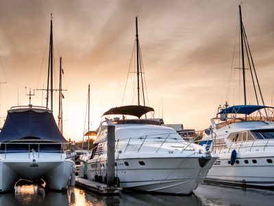 Yacht and boats at the marina in the evening, Phuket, Thailand